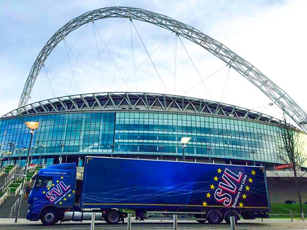 Conference transport lorry outside Wembley Stadium
